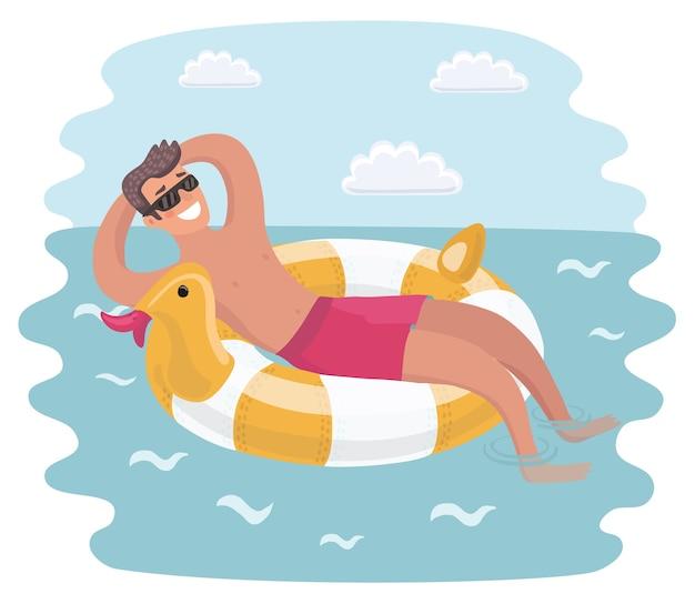 Giovane uomo in occhiali da sole che riposa sull'anello gonfiabile galleggiante in posizione a stella