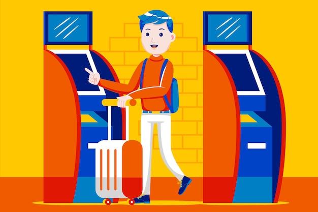 Giovane che utilizza la macchina del biglietto automatico all'aeroporto.