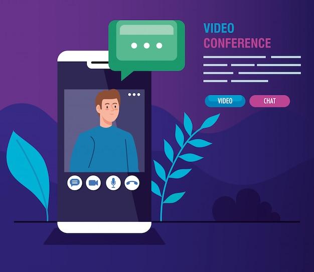 Giovane in videoconferenza in smartphone