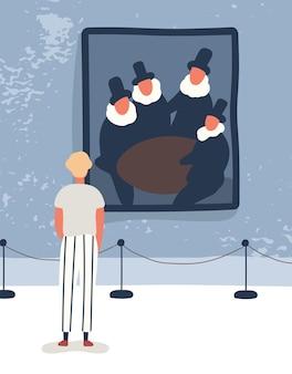 Illustrazione piana di vettore della galleria di visita del giovane. ragazzo che ammira i vecchi personaggi dei cartoni animati di pittura. mostra d'arte classica, esposizione museale. turista che guarda l'immagine, godendo di opere d'arte antiche.