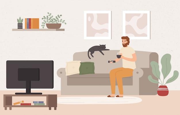 Giovane che guarda la tv. bere il tè e guardare lo spettacolo televisivo, trascorrere il fine settimana sull'illustrazione del sofà