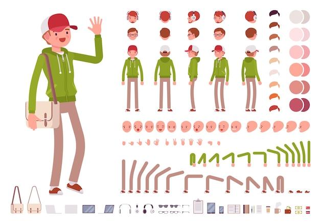 Giovane uomo che indossa felpa con cappuccio creazione del personaggio set