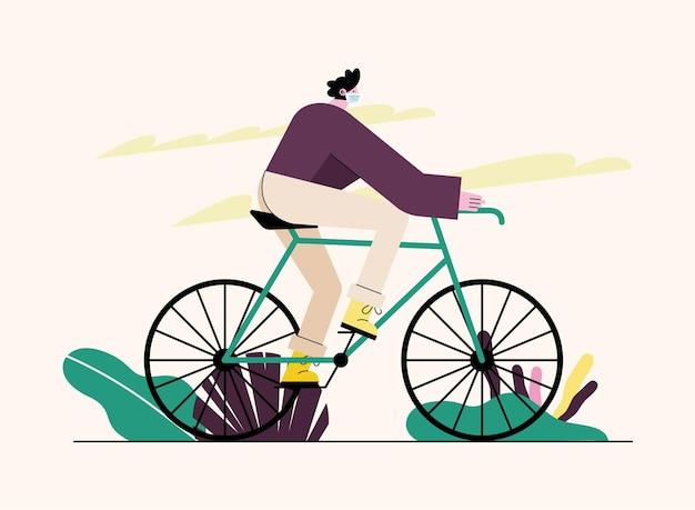 Giovane uomo che indossa la mascherina medica in bicicletta sull'illustrazione del parco