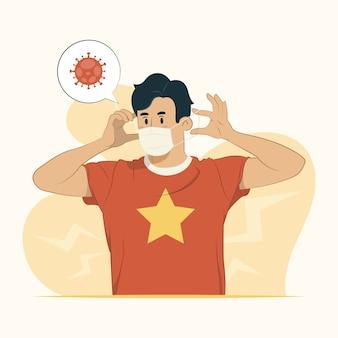Giovane uomo che indossa maschera medica concetto illustrazione
