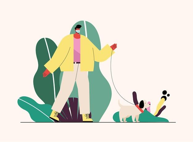 Giovane uomo che indossa la maschera medica con il simpatico cane nell'illustrazione del parco