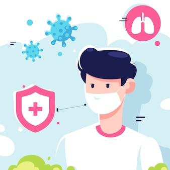 Giovane che indossa maschere mediche