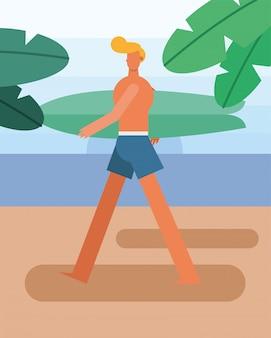 Costume da bagno da portare del giovane che cammina con il carattere della tavola da surf