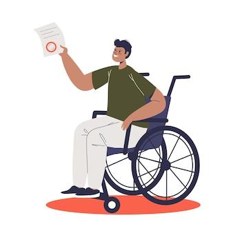 Giovane uomo sulla sedia a rotelle tenendo il documento per l'assegno di invalidità. personaggio maschile disabile dei cartoni animati sulla sedia a rotelle con supporto e compensazione in denaro.