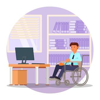Giovane in sedia a rotelle che lavora alla persona disabile piana dell'ufficio