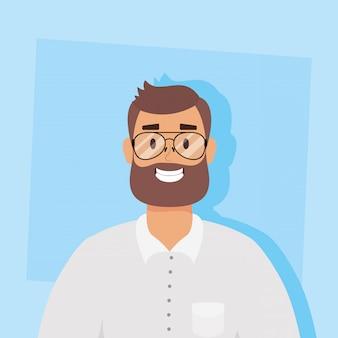 Giovane con progettazione dell'illustrazione di vettore del carattere dell'avatar della barba