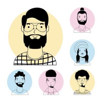 Giovane con la barba e gli uomini interrazziali avatar vettore di carattere linea stile design