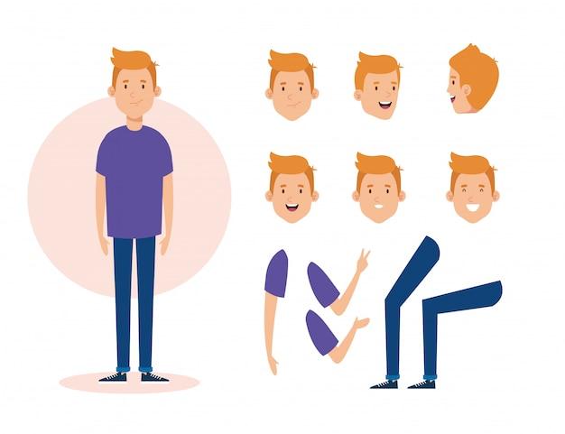 Giovane con personaggi di parti del corpo