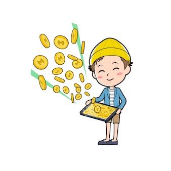 Un giovane con un gesto di fare soldi con il tablet.