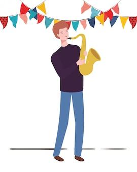 Giovane con sassofono