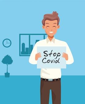 Giovane con il carattere del cartello stop covid19