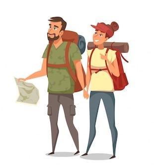 Giovane uomo e donna zaino in spalla isolato su bianco