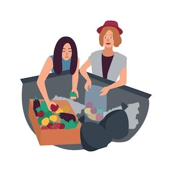Giovane uomo e donna che scavano nel contenitore dei rifiuti e raccolgono frutti. coppia di freegans maschio e femmina alla ricerca di cibo nel cestino. freeganism o immersioni nei cassonetti. illustrazione di vettore del fumetto piatto.