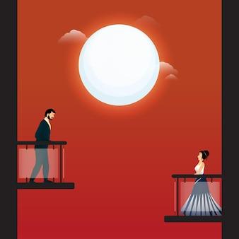 Giovane uomo e donna che guardano l'un l'altro dai loro balconi sulla luna piena