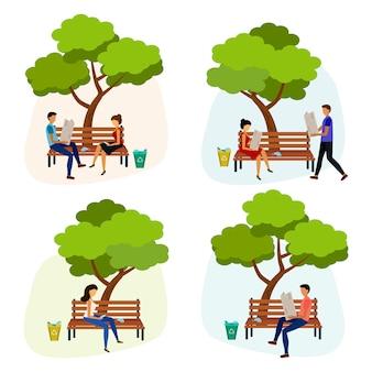 Giovane uomo e donna senza maschera nel parco.
