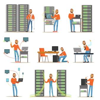Giovane che lavora nella stanza del server di rete.