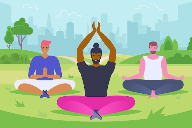 Giovani uomini che fanno yoga piatto illustrazione vettoriale. ragazzi sorridenti, hipster in personaggi dei cartoni animati di abbigliamento sportivo. persone sedute nella posa del loto, meditando all'aperto. stile di vita sano, esercizio di concentrazione