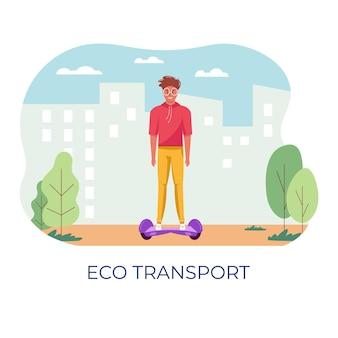 Giovani uomini che camminano e guidano il trasporto ecologico della città nel parco pubblico, sullo sfondo della vita cittadina. trasporto personale elettrico, scooter elettrico verde, giroscooter, segway. vettore di veicolo ecologico