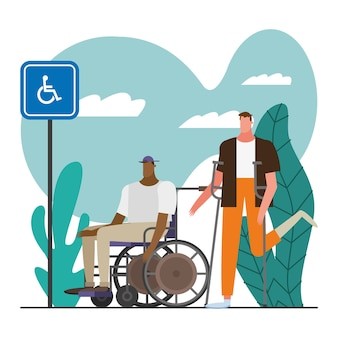 Giovani uomini con la stampella e la sedia a rotelle disabilitano il disegno dell'illustrazione dei personaggi