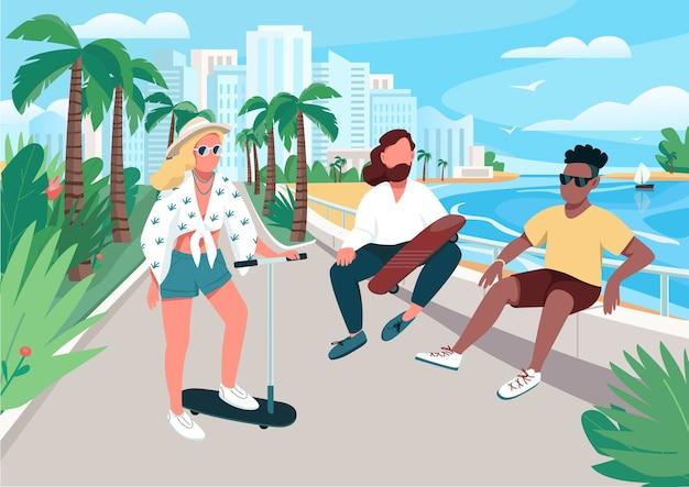 Giovani uomini e donne attività estive illustrazione di colore piatto. persone che camminano sulla strada della località turistica. adolescente che guida scooter e pattinaggio. personaggi dei cartoni animati di turisti 2d con città sullo sfondo
