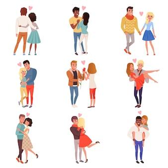 Giovani uomini e donne personaggi innamorati che abbracciano insieme
