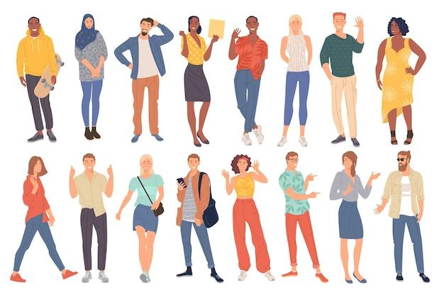 Giovani uomini e donne concetto di diversità