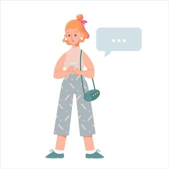 Giovane donna moderna con smartphone, legge notizie o messaggi, acquisti online. ragazza piana del fumetto con il telefono cellulare isolato su bianco. ragazza carina pensierosa legge l'illustrazione di notizie