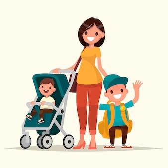Giovane madre con un bambino in un passeggino e uno scolaro figlio. illustrazione vettoriale in uno stile piatto