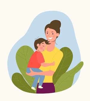 Giovane madre con bambino. illustrazione di stile piatto vettoriale