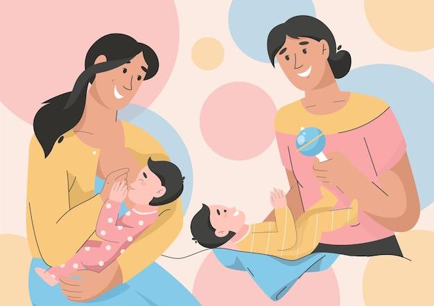 Le giovani madri si prendono cura dei loro figli