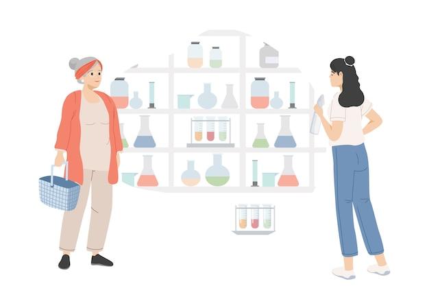 Donne giovani e anziane che scelgono farmaci in farmacia