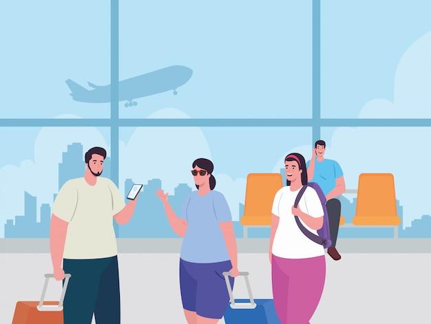 Giovani nel terminal dell'aeroporto, passeggeri al terminal dell'aeroporto con disegno di illustrazione vettoriale di bagagli