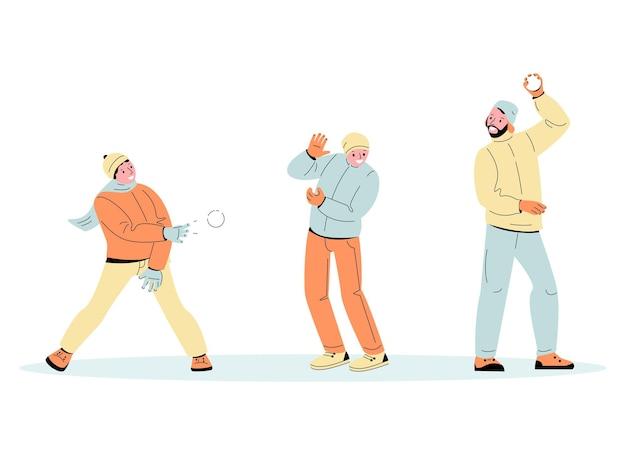 I giovani stanno giocando a palle di neve. divertenti giochi invernali. illustrazione vettoriale in stile cartone animato.