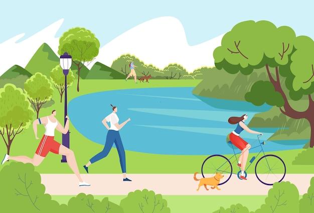 Carattere di giovani insieme godendo di preparazione atletica di attività all'aperto