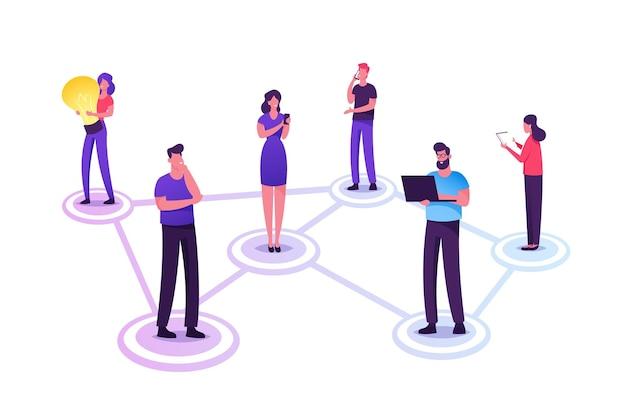 Personaggi dei giovani in chat nei social network. cartoon illustrazione piatta