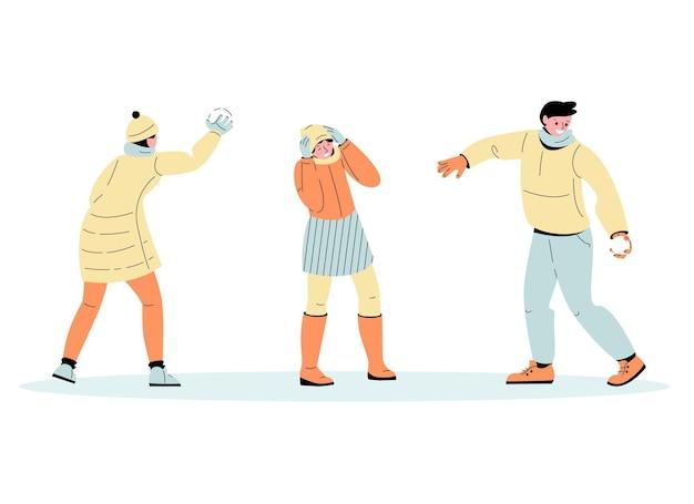 Giovani ragazzi e ragazze giocano a palle di neve divertenti giochi invernali set di illustrazioni vettoriali