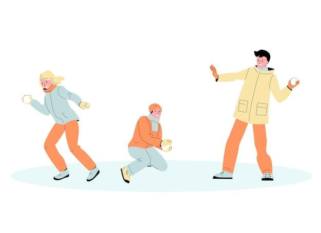 Giovani ragazzi e ragazze giocano a palle di neve divertenti giochi invernali set di vettori