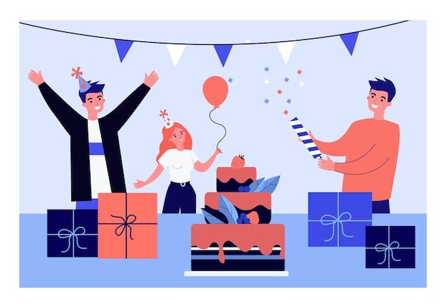I giovani si divertono alla festa di compleanno.