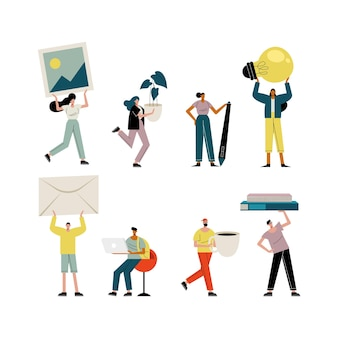 I giovani che alzano l'illustrazione dei caratteri degli oggetti