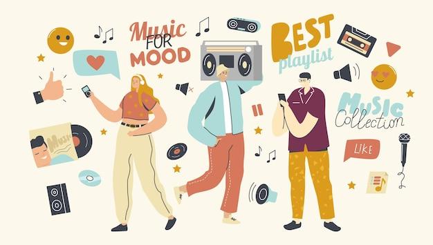 I giovani ascoltano la playlist con la composizione del suono sul lettore musicale o sull'applicazione del telefono cellulare. personaggi maschili e femminili che indossano le cuffie che si divertono e si rilassano. cartoon persone illustrazione vettoriale