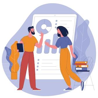 Giovani, uomo e donna che lavorano con dashboard di business online.