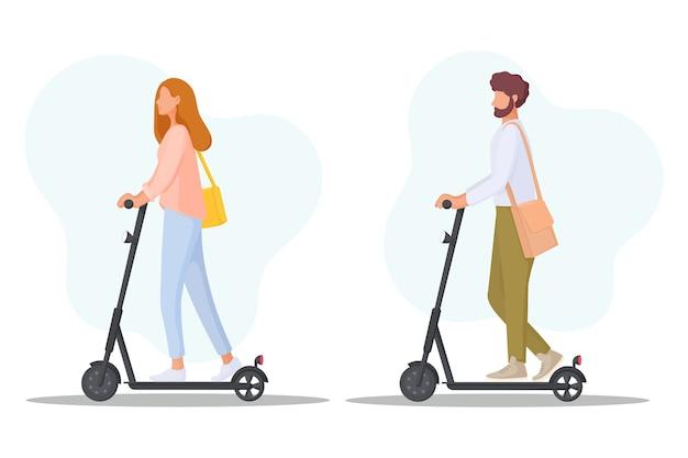 I giovani cavalcano su scooter elettrici. concetto di trasporto di ecologia. trasporto personale ecologico. illustrazione. Vettore Premium