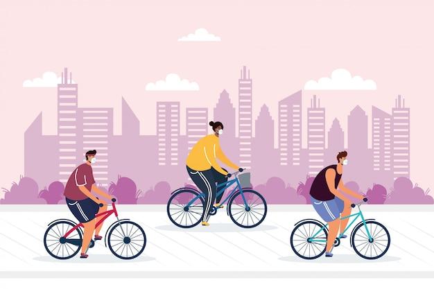 Bicicletta di guida dei giovani che indossa le maschere mediche sull'illustrazione della città Vettore Premium