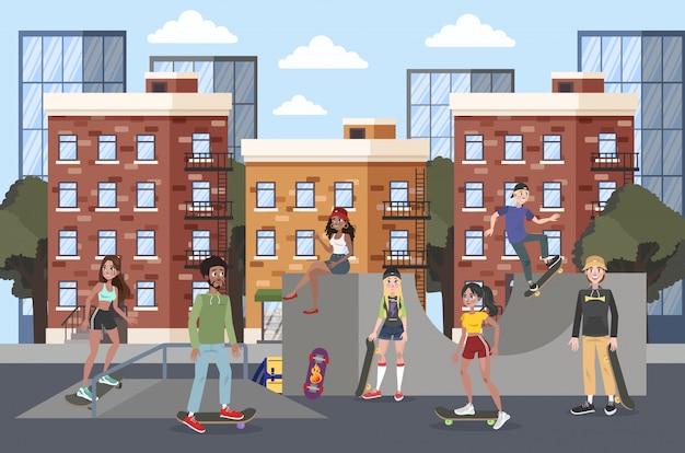 Giovani nello skate park skateboard.