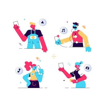 I giovani usano gli smartphone, chattando, facendo selfie e ascoltando musica. ragazzi e ragazze felici che parlano e che scrivono sul telefono. collezione di personaggi femminili e maschili. illustrazione del fumetto piatto.