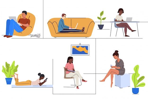 Giovani che usando le illustrazioni piane di vettore dei dispositivi a casa messe